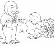 Coloring pages Charley and Ted in the garden