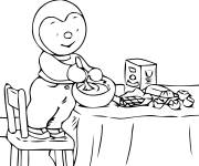 Coloring pages Charley prepares a cake