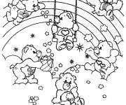 Coloring pages Rainbow care bears