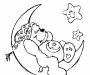 Coloring pages Sleeping Bears on the Crescent Moon