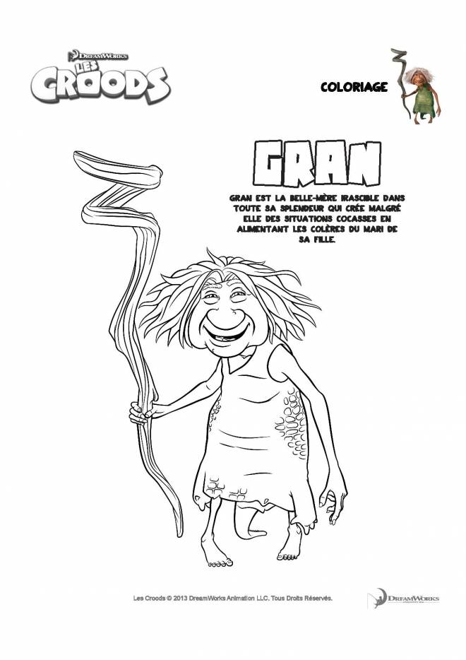 Free coloring and drawings The croods Gran and his stick Coloring page