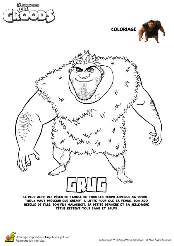 Free coloring and drawings The Croods Grug the Papa Hen Easy Coloring page