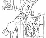 Coloring pages The Flintstones dinner