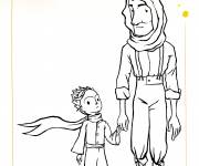 Free coloring and drawings The little prince and the old man Coloring page