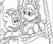 Coloring pages Baby Bear and Miss Piggy fun color
