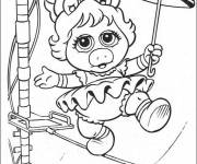 Coloring pages Baby Miss Piggy at the circus