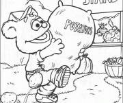 Coloring pages Fozzie carries a bag of potatoes
