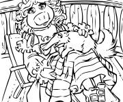Coloring pages Miss Piggy and Gonzo color