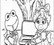 Coloring pages Miss Piggy and Kermit have a picnic