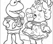 Coloring pages Muppets eat Ice easy