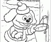 Coloring pages Rowlf the dog takes a bucket of water