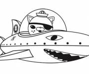 Coloring pages Captain Barnacles in a shark-shaped vessel