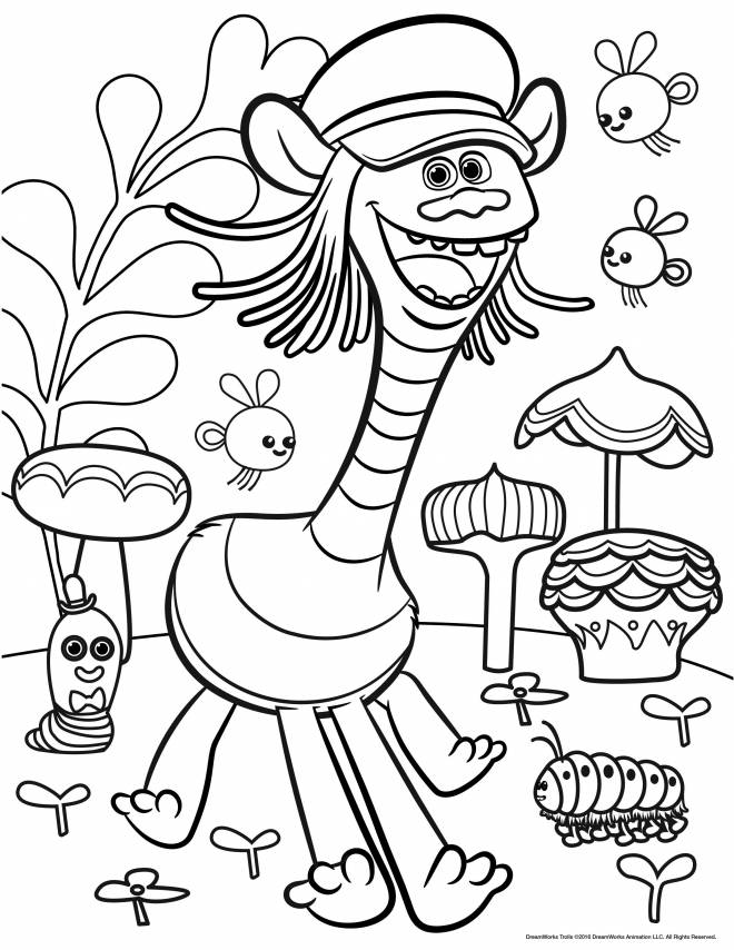 free printable the trolls coloring pages