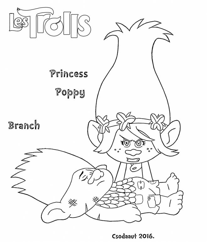 Free coloring and drawings Princess Poppy trolls Coloring page