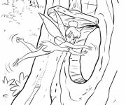 Coloring pages Tinkerbell in The Tree