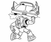 Coloring pages Buzz Lightyear lifts a car