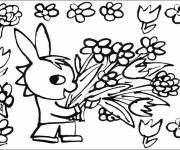 Coloring pages Troto picks flowers
