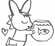 Coloring pages Trotro with its fish