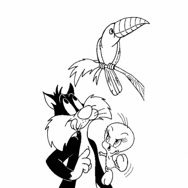 Free coloring and drawings sylvester wants to eat the bird Coloring page