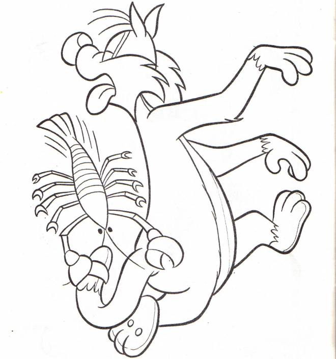 Free coloring and drawings Sylvesteris stung by the crayfish pliers Coloring page