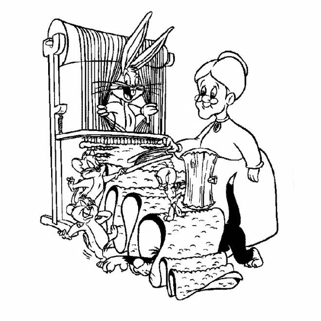 Free coloring and drawings Tittweety and sylvester Looney Tunes Coloring page