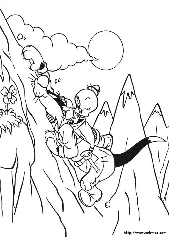Free coloring and drawings tweety and sylvester climb a mountain Coloring page