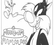 Coloring pages tweety and sylvester get ready to eat cake