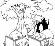 Coloring pages tweety and sylvester read a book