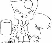 Free coloring and drawings Tweety drinks his coffee Coloring page