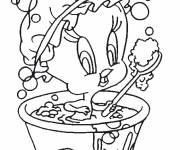 Free coloring and drawings Tweety is showering Coloring page