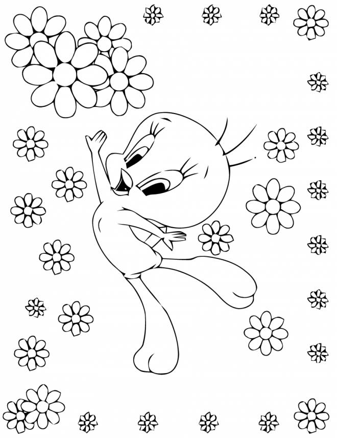 Free coloring and drawings Tweety jumps out of joy Coloring page