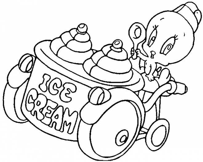 Free coloring and drawings tweety sells ice Coloring page