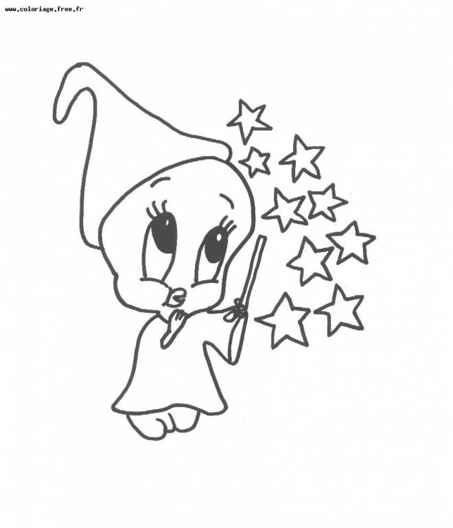 Free coloring and drawings Tweety the magician Coloring page