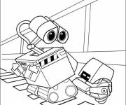 Coloring pages Wall-E and Burn E drawing