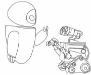 Coloring pages Wall-E and Eve talk to each other