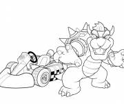 Coloring pages Bowser and kart car