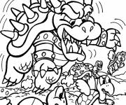 Coloring pages Bowser and Koopa Troopa