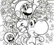 Coloring pages Mario, Yoshi and their friends