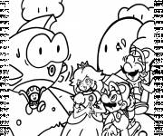 Coloring pages Super Mario Bros and the princess character