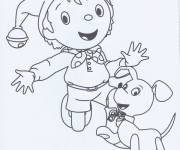 Coloring pages Noddy and his dog