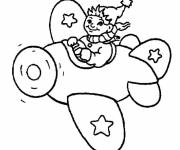 Coloring pages Noddy piloting in full flight