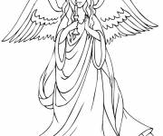 Coloring pages Angel carries a candle