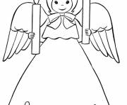 Coloring pages Angel wears two candles