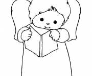 Coloring pages Child angel reciting