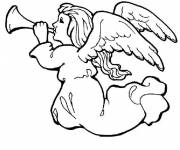 Coloring pages Christmas angel trumpet