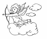 Coloring pages Guardian Angel on the Clouds