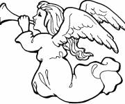 Coloring pages The Christmas Angel blows the trumpet