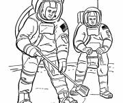 Coloring pages Astronauts on the moon