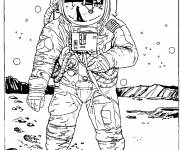 Coloring pages Moon american astronaut