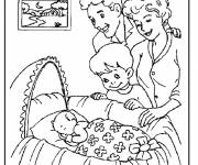 Coloring pages Baby and family